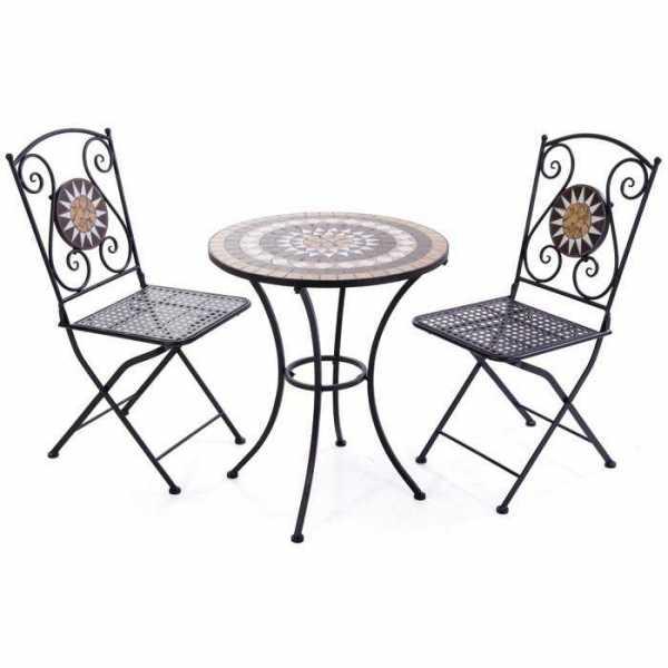 Ensemble de mosaïque - Table et 2 chaises en métal peint ...