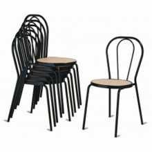 Vienna - Chaise thonet non empilable métal, fausse paille, plastique, bois, rembourrée, en éco-cuir pour bar, restaurant, hôtel
