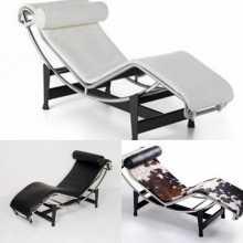 LC4-Fauteuil Le Corbusier Chaise Longue en éco-cuir (cuir écologique) ou véritable cuir grainé ou pony design