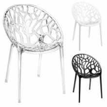 FOREST CC - Chaise (fauteuil) Empilable ciselée en Polycarbonate pour ext. et int.pour bar,restaurant,piscine,hôtel