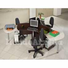 Devona 1 - Bureau en îlot contract office trois places en bois NB* bureau, cabinet, hôtel
