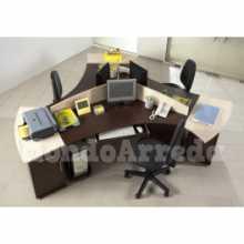 Satida 3 - Bureau contract office trois places en bois NM* pour bureau, cabinet, hôtel